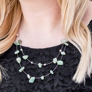 Paparazzi Pebble Posh Green Necklace Set